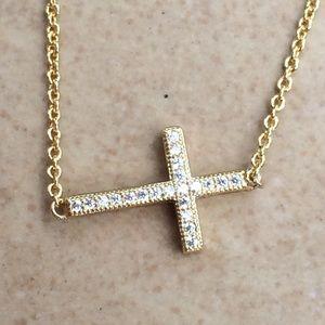 Jewelry - Gold Plated Cubic Zirconia CZ Sideways Cross Neck
